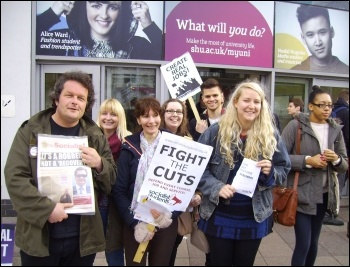 Hallam university Socialist  Students supporting the HE strike by UCU, Unison and Unite, 31.10.13 , photo A Tice
