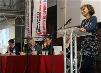 Hannah Sell addressing the closing (Sunday) rally of Socialism 2013, photo Senan