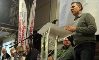 PCS general secretary Mark Serwotka addressing the Rally for Socialism, photo Senan