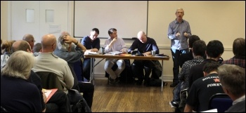 John McInally (PCS vice-president) addressing a session that discussed the call for a 24-hr general strike , photo Senan