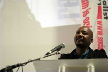 Leading 'Workers And Socialist Party' (WASP) and 'Democratic Socialist Movement' (DSM - CWI South Africa) member Mametlwe Sebei addressing the Rally for Socialism , photo Senan