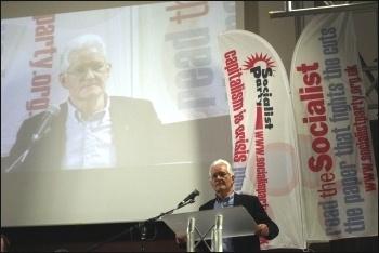 Keith Morrell addressing the Rally for Socialism, photo Senan
