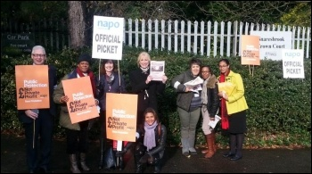 Pickets at Snaresbrook crown court, 5.11.13, photo Martin Reynolds