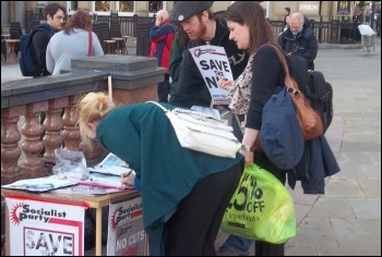 Socialist Party campaigning in Doncaster against cuts to the NHS , photo Iain Dalton