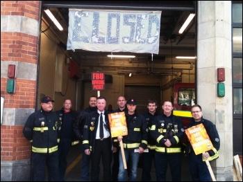 Leytonstone FBU strikers, 13.11.13, photo by Ian Pattison