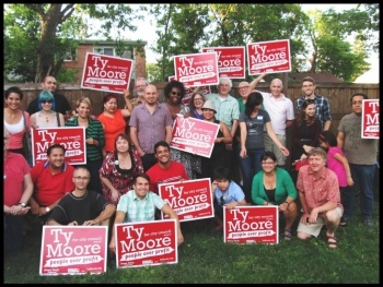 Ty Moore with supporters