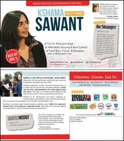 Kshama sawant election leaflet, photo by Socialist Alternative