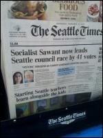 Seattle Times - Socialist [Kshama] Sawant now leads Seattle council race, photo Seattle Times