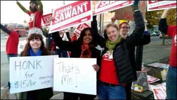 Kshama Sawant campaigning for a $15 an hour minimum wage, photo Socialist Alternative