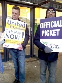 University of East London workers striking on 21 October 2013