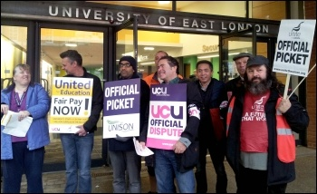 University of East London workers striking on 31 October 2013
