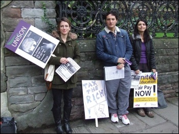 Bristol university workers on strike in October 2013