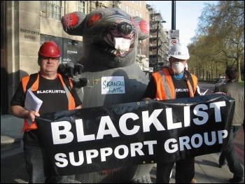 Unite members protesting against blacklisting, photo the Socialist