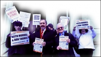 Southampton Councillors Against Cuts, Don Thomas  and Keith Morrell (centre two), photo Southampton TUSC