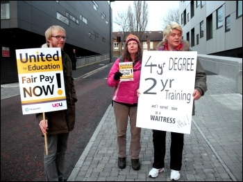 Newcastle FE college workers on strike on 3 December 2013
