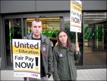 Students supporting the strike at Newcastle FE college on 3 December 2013