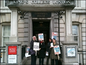 King;s College workers striking over pay on 3 December 2013