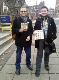 Liverpool Socialist Party member Jack Yardley with his History Lecturer  Nick outside John Moore's University