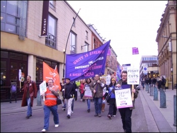 Sheffield  University staff on the march 3 Dec 2013, photo by A Tice