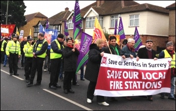 Over 200 people marched to stop fire station closures in Surrey