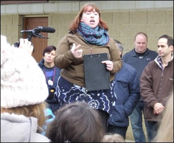 Socialist Party member Sheila Caffrey speaking at the Save Hengrove Park, photo Matt Carey