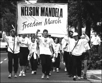 Nelson Mandela Freedom March, Birmingham 1988, photo by John Harris