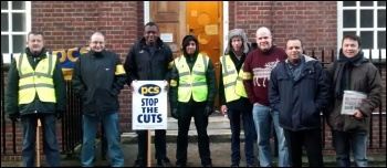 National Insurance number centre strike, 2.1.14, photo by Naomi Byron