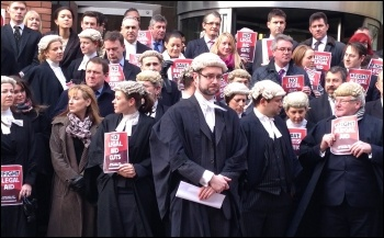 Solicitors and barristers protest outside Leeds combined courts, photo Tanis Belsham-Wray