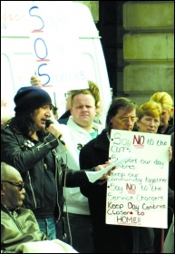 Protesting against care cuts in Mansfield, photo S Civi