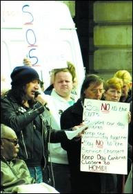 Protesting against care cuts in Mansfield, photo S Civi