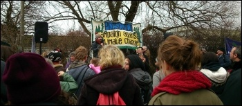Demonstration against fracking on Barton Moss in Salford, 12.1.14, photo M Kilsby