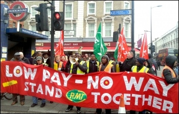 Mitie cleaning workers striking for decent pay on 21 January 2014, photo Neil Cafferky