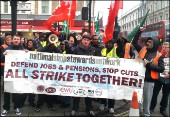 NSSN members supporting RMT Mitie workers on 21 January 2014, photo by Neil Cafferky