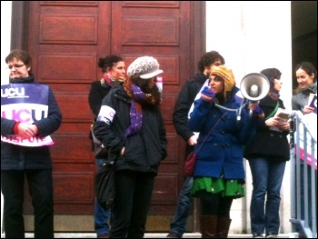 UCU members at SOAS in London striking over pay on 28 January 2014, photo Helen Pattison