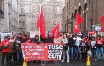 IWGB members and supporters take action over pensions at University College London, photo London SP