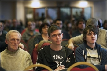 TUSC conference 1.2.14, Joe Robinson in centre, photo Paul Mattsson