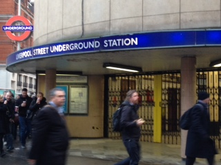 Closed station at Liverpool Street, photo by Judy Beishon