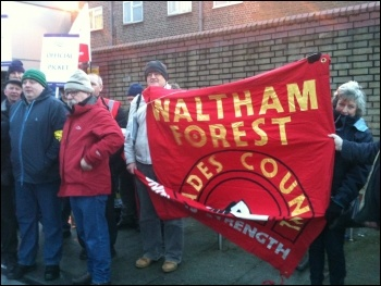 Waltham Forest trades council bringing solidarity. 5.2.14, photo by Ian Pattison