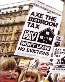 One of the mass protests in the campaign against the bedroom tax in Scotland, photo Socialist Party Scotland