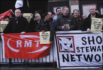 RMT and TSSA memebers protesting against the threatened London Underground cuts, photo Paul Mattsson