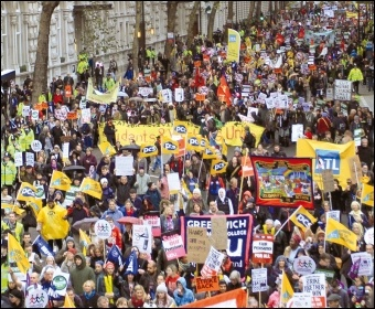 Part of the PCS contingent on the 2011 N30 London demo, photo Senan