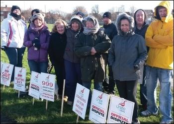 Yorkshire Ambulance workers picket in Wakefield on 1 February 2014 photo Iain Dalton