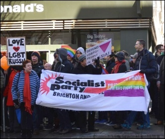 Brighton Socialist Party members taking part in a Brighton LGBT solidarity protest on the opening day of the 2014 winter Olympics, photo Serena Cheung