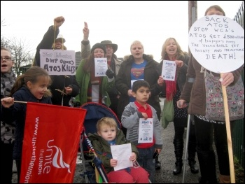 Demo against Atos, St Helens, 19.2.14, photo by H Caffrey