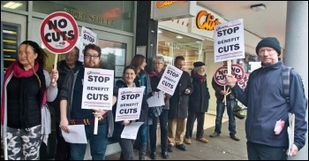 Carmarthen demo against Atos, 19.2.14, photo by Les Woodward