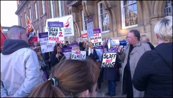Protest against the council cuts budget, Leicester, February 2014, photo by S Score