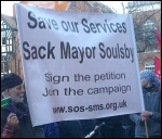 Protest against the council cuts budget, Leicester, February 2014, photo S Score