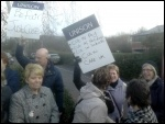 Protest picket outside Care UK�s Doncaster office , photo A Tice
