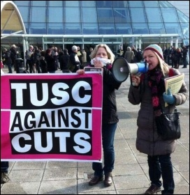 Lois Austin speaking, outside Labour's special conference, 1.3.14