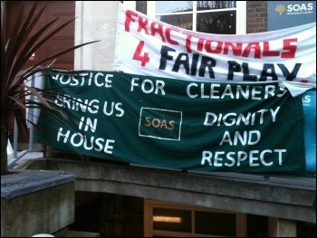 Outsourced cleaners working at SOAS college in London were on strike on 4 and 5 March 2014, photo I Pattison
